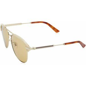 New Gucci Beige & Gold Sunglasses